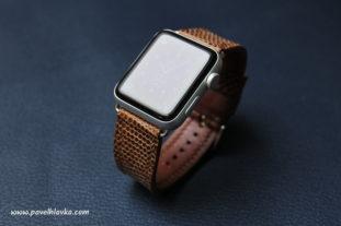 Kožený řemínek na hodinky Apple Watch ještěrčí kůže