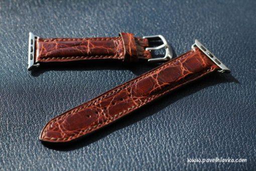 Ručně vyrobený kožený řemínek pro hodinky Apple Watch z krokodýlí kůže
